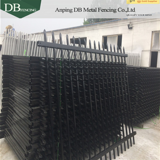 Powder coated black steel piket fence