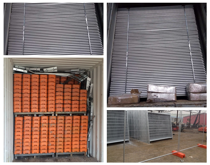 Temporary fence panel,   feet, brace and   clips loaded in container