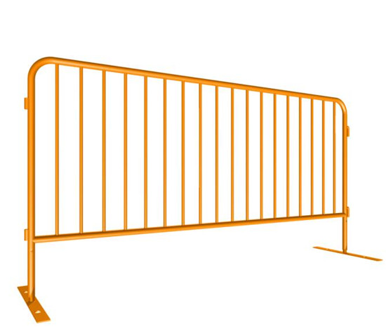 Powder coated crowd control barrier yellow color drawing