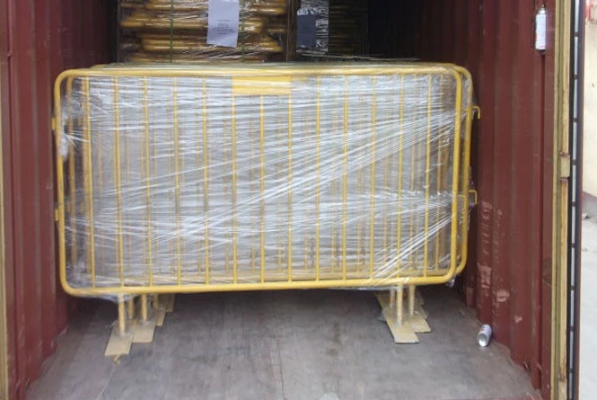 crowd ocntrol barrier loaded into container