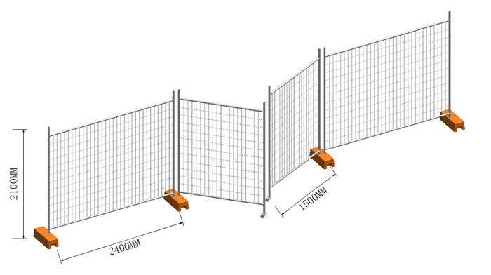 temporary fence panel, feet, clamps and gate installed drawing