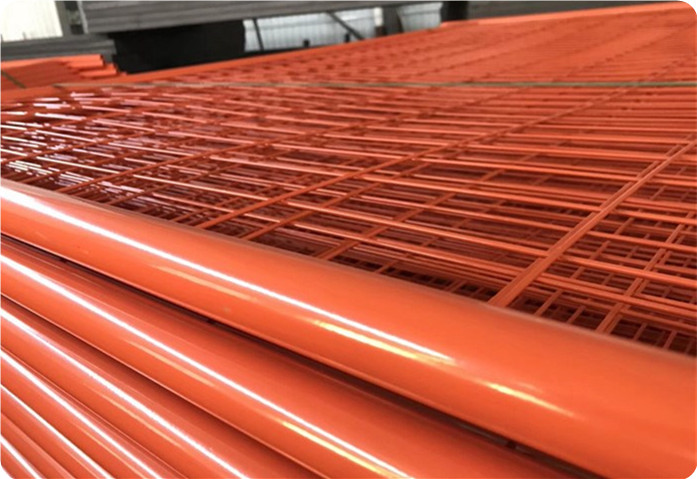 Powder Coated Orange Color Temp Fence Panel