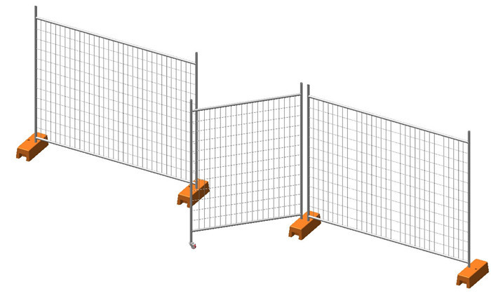 galvanized temporary fence drawing with gate and clamps